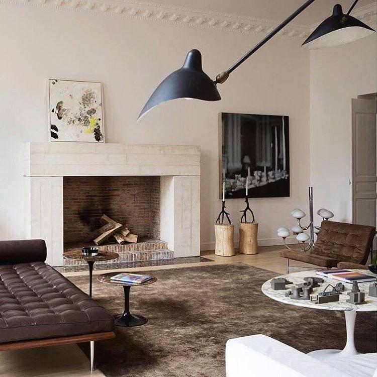 Interior design in Marais, Paris by Humbert & Poyet: Mies van der Rohe Barcelona-daybed (1928), Eero Saarinen´s Tulip-tables for Herman Miller (1957) and Serge Mouille tripod floor lamp (1958). #myinteriorstories