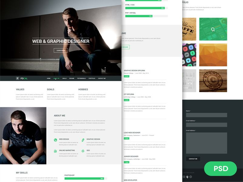 Resume Website Template Focal Resume Psd Theme  Psd Templates And Web Inspiration