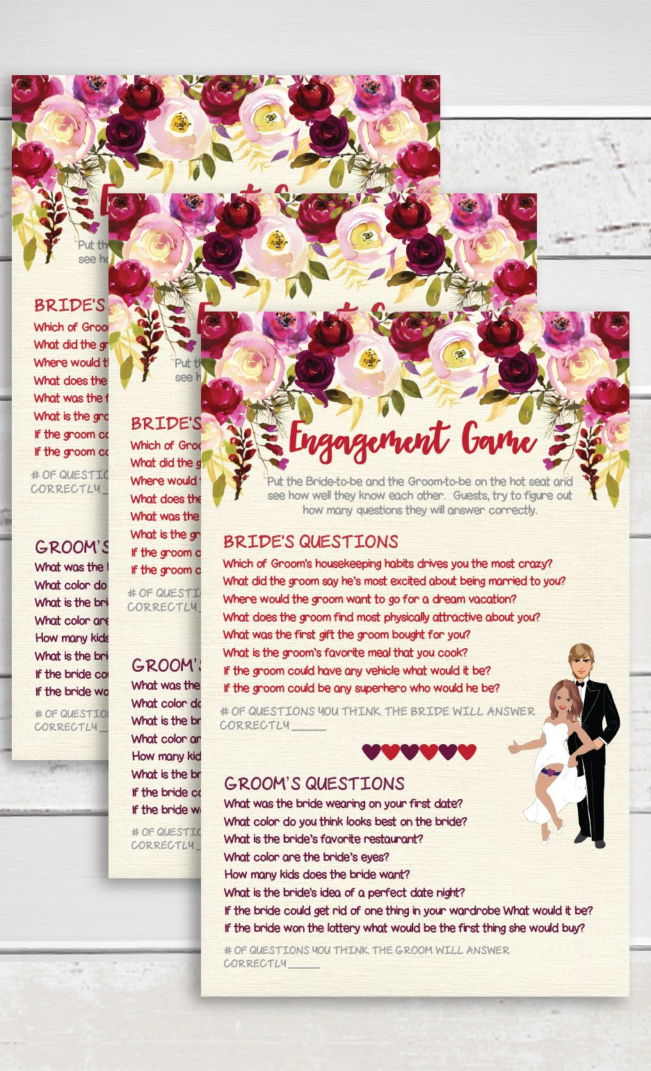 Engagement Game Bridal Shower Game Engagement Party Game Floral