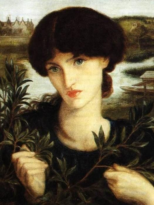 """Jane Morris as """"Water Willow"""" painted by Rossetti in 1871 when she was about thirty and already his lover.  This is a water color painted at William Morris' home at Kemscott Manor Hammersmith. Morris's whereabouts during the interlude are not known."""