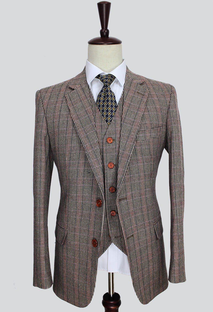 Quality brown classic woolen tweed suit mensu formal wear tailor