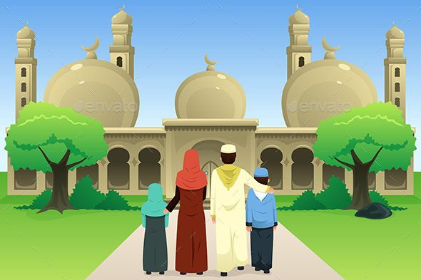 A Vector Illustration Of Muslim Family Going To Mosque Kartun