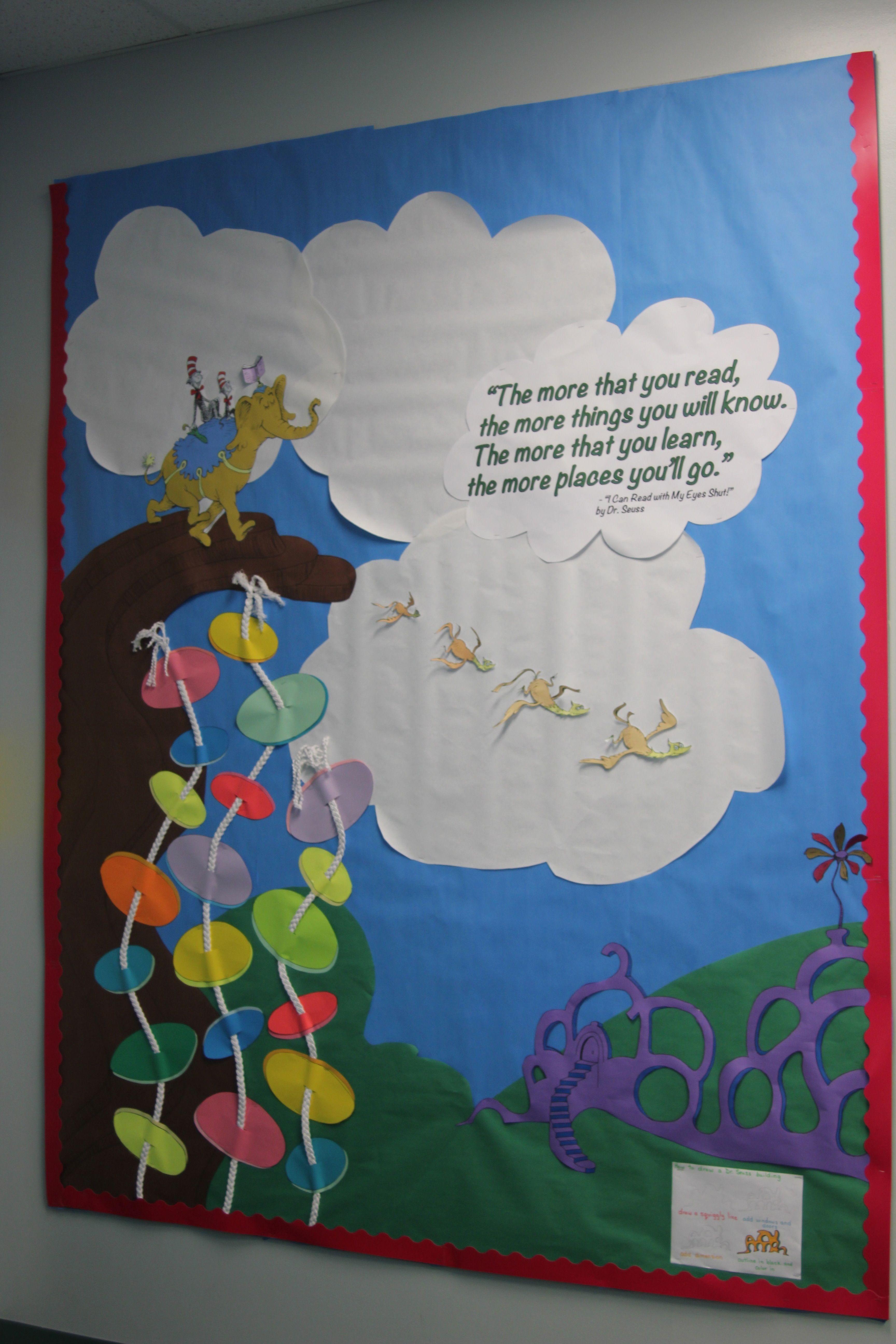 "Dr Seuss Bulletin Board. Used Braided Trim ""flower"