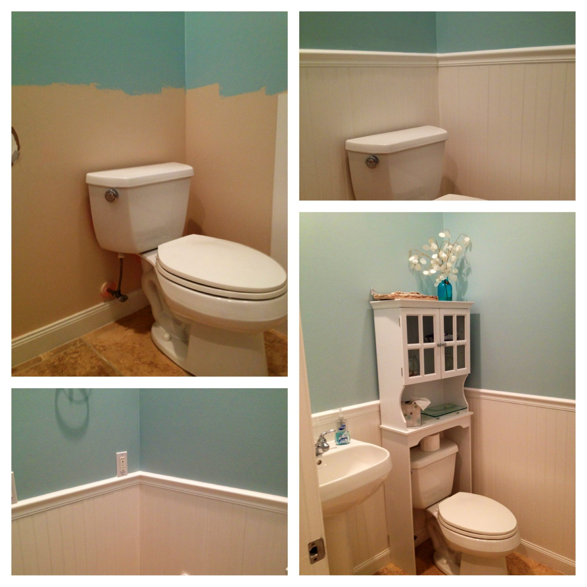 Updated A Guest Bathroom With Wainscot
