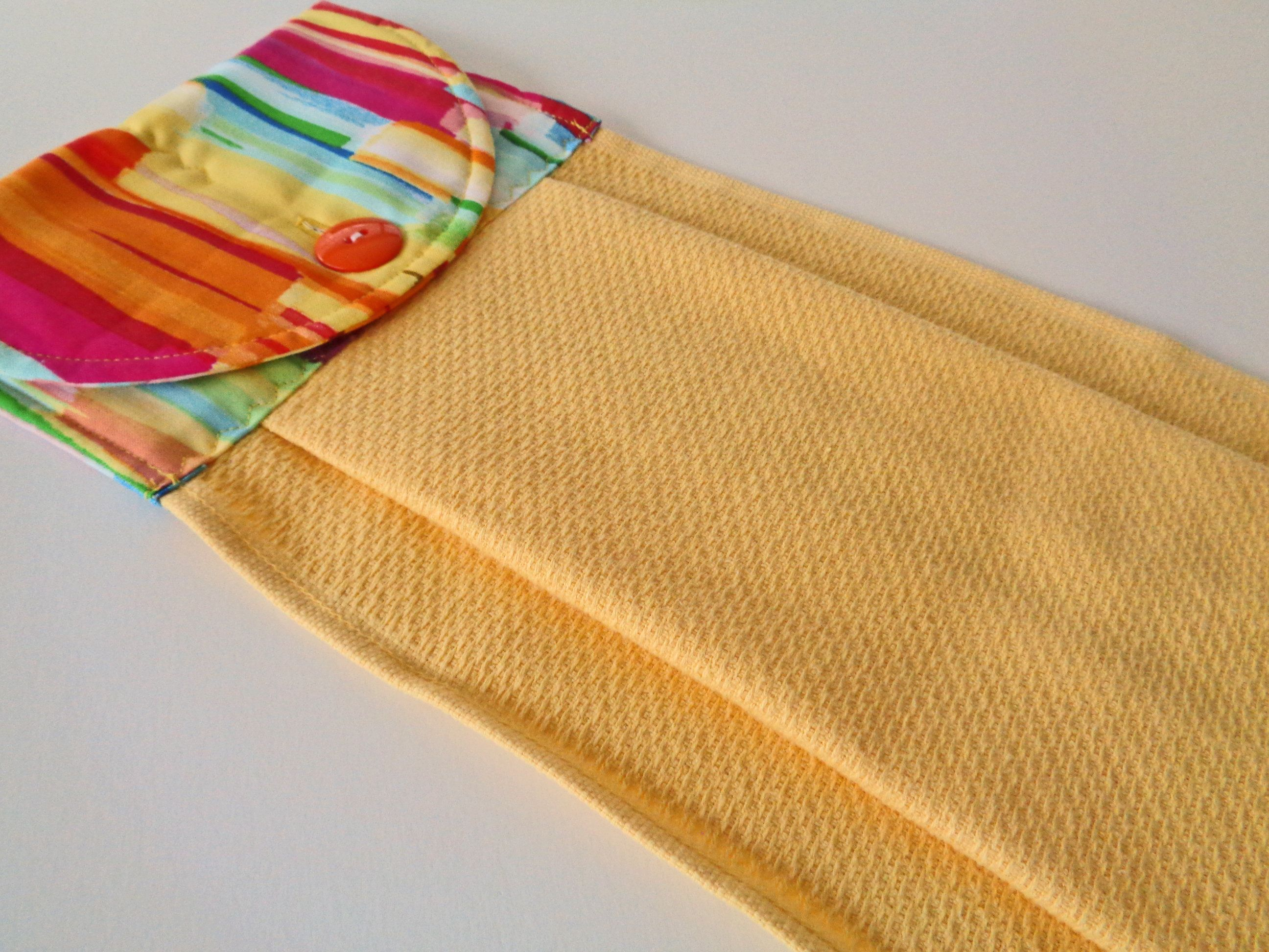 Bright Stripe On Yellow Hanging Kitchen Dish Towel Modern