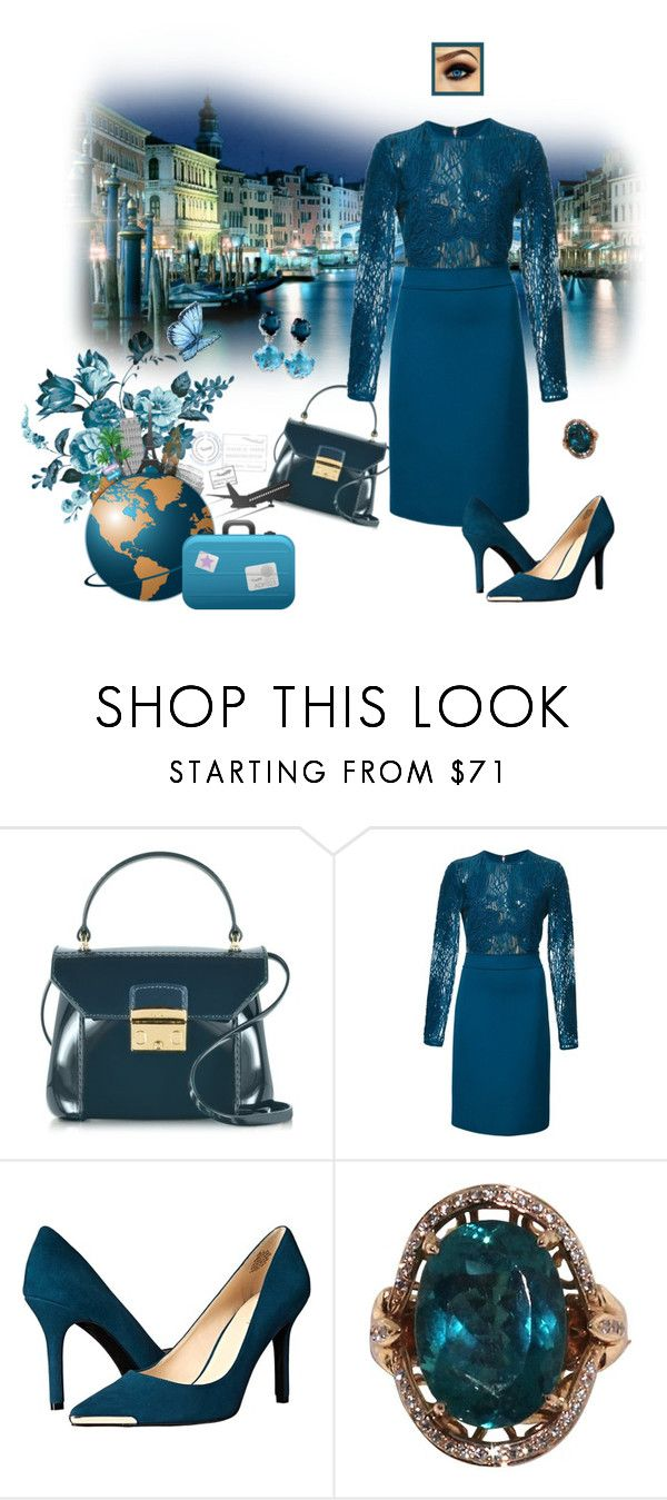 """""""Venice in Teal"""" by krusie ❤ liked on Polyvore featuring Furla, Elie Saab and Nine West"""
