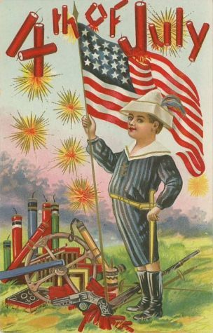 Vintage 4th of July Fabric Block Postcard Image on Independence Day Fireworks