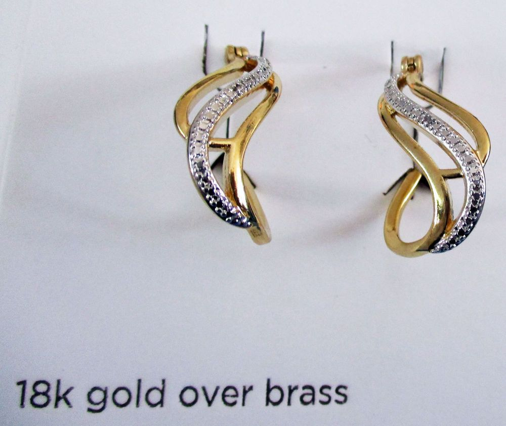 fffa7b89a Jewelry JCP CLASSIC TREASURES 18K Gold Over Brass Diamond Accent Earrings S  B11 #JCPenney