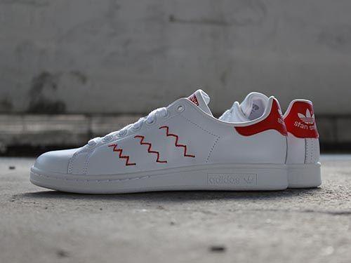 """Adidas Stan Smith """"Zig Zag"""" White/Red http://goo.gl/luuMXs"""