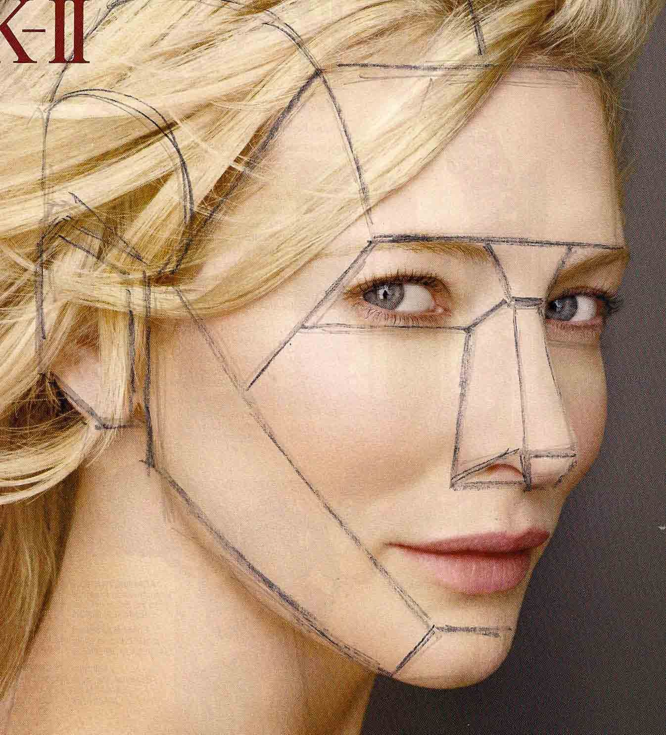 draw planes of the face over magazine