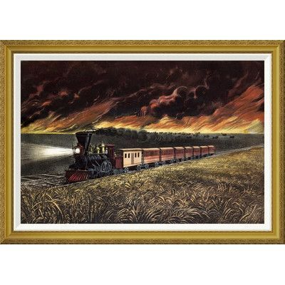 """Global Gallery 'Prairie Fires of the Great West' by Currier and Ives Framed Painting Print Size: 30.16"""" H x 42"""" W x 1.5"""" D"""