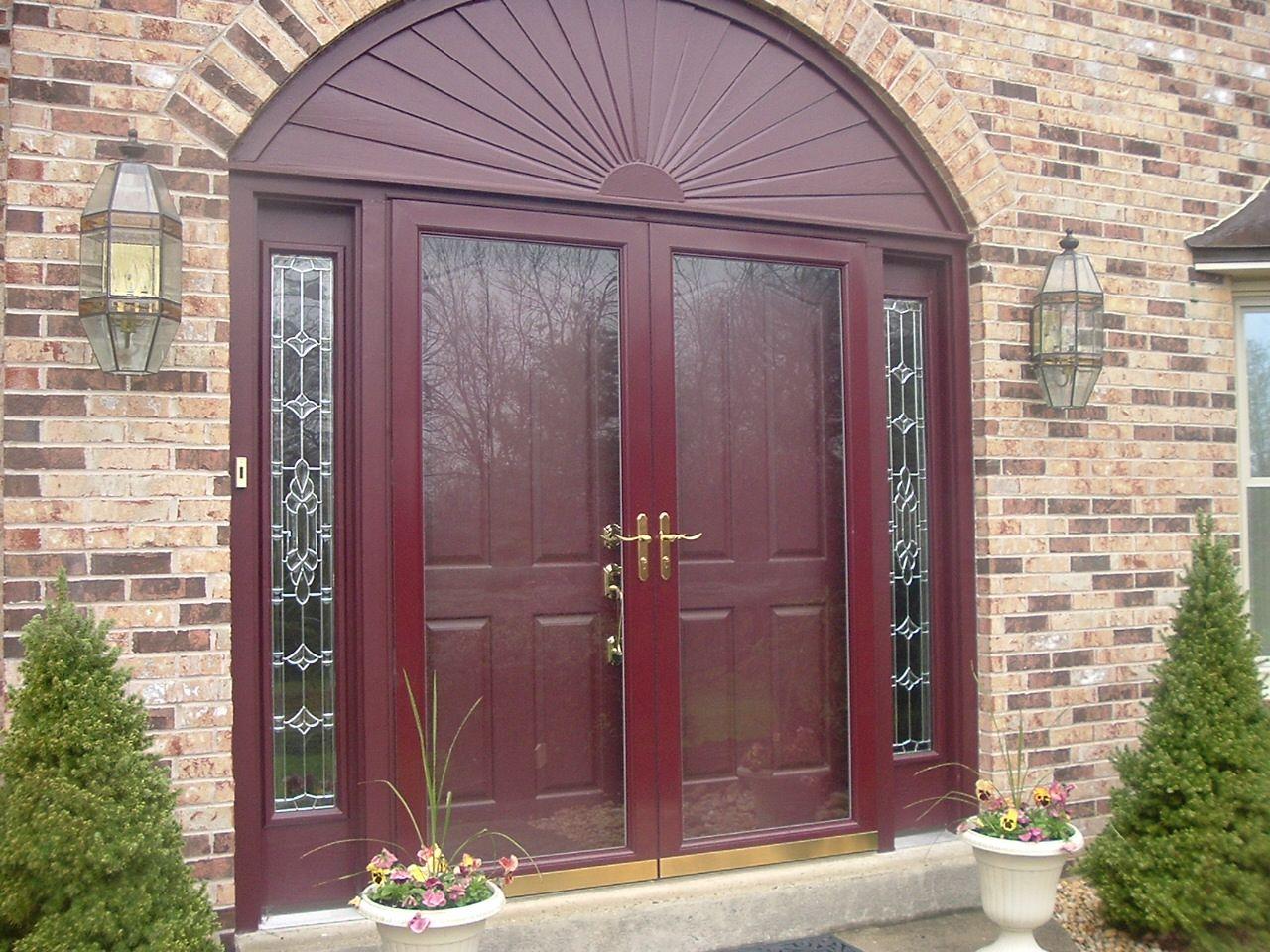 Cranberry Storm Door On A Cherry Wood Door Gorgeous