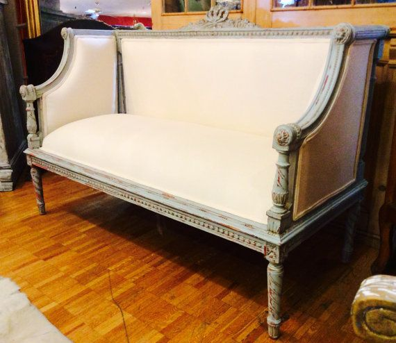 French Furniture French Vintage Chair Blue Damask 3 Piece