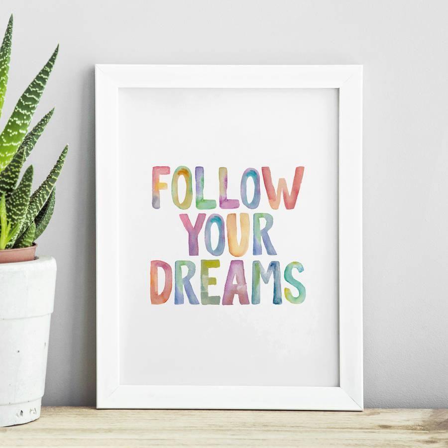 Follow Your Dreams http://www.amazon.com/dp/B01BDXSHJI motivationmonday print inspirational black white poster motivational quote inspiring gratitude word art bedroom beauty happiness success motivate inspire