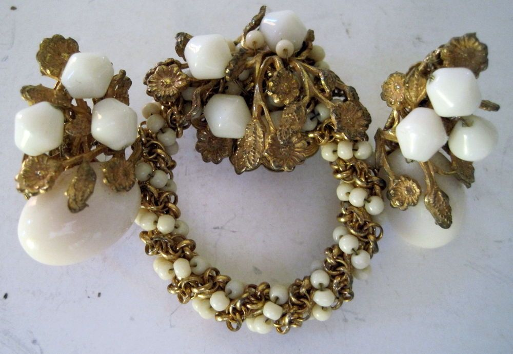3 PC Signed Miriam Haskell Demi Parure Oval Wreath Pin With Clip Earrings Set #MiriamHaskell