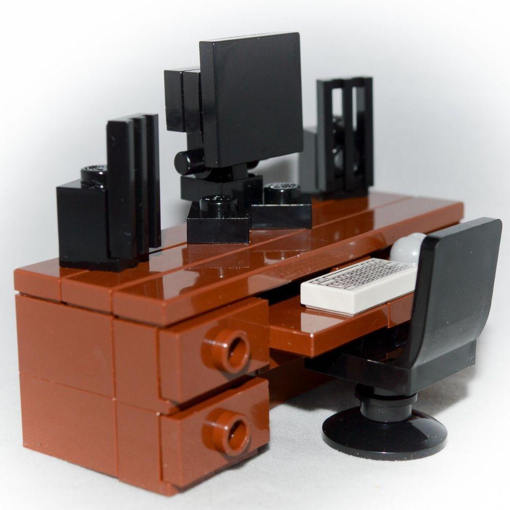 Lego Furniture Computer Desk Set W Keyboard Monitor