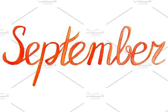 watercolor september month word typeface watercolor