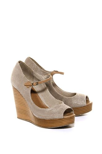 suede peep-toe wedges CASUAL - Esprit