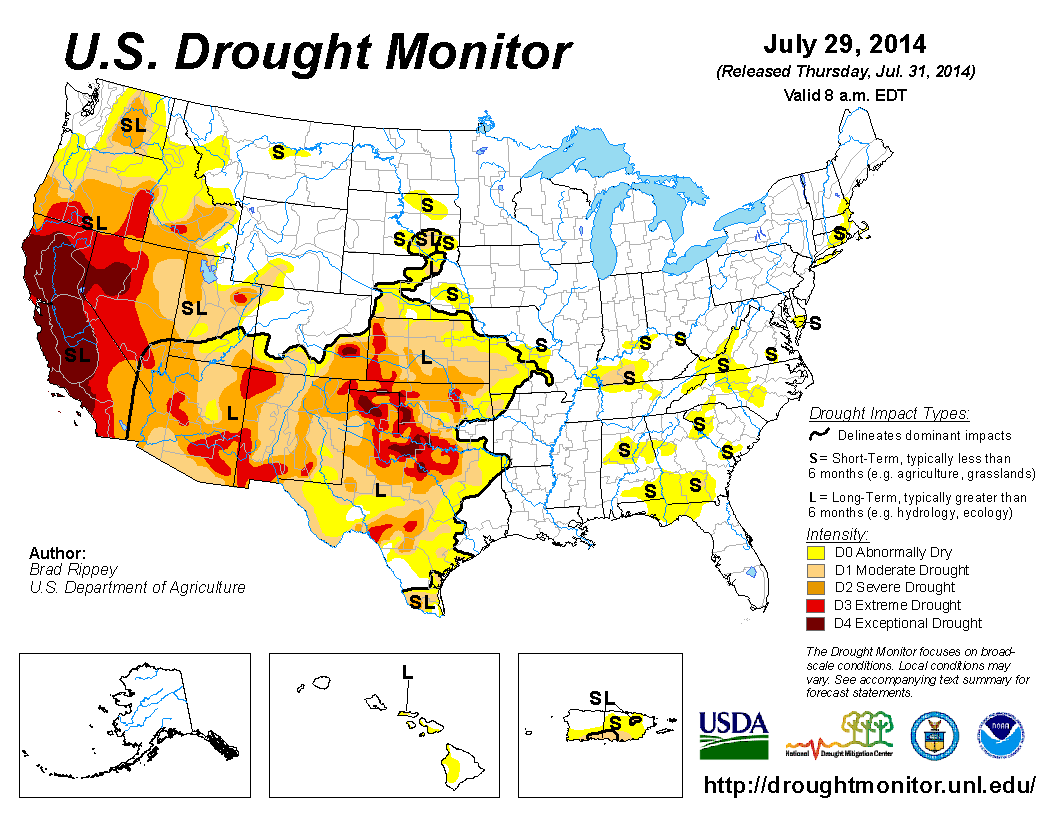 Current U.S. Drought Monitor | Gardening | California ... on current drought map may 2013, current us temperature map, current world weather map, current drought map for south america,