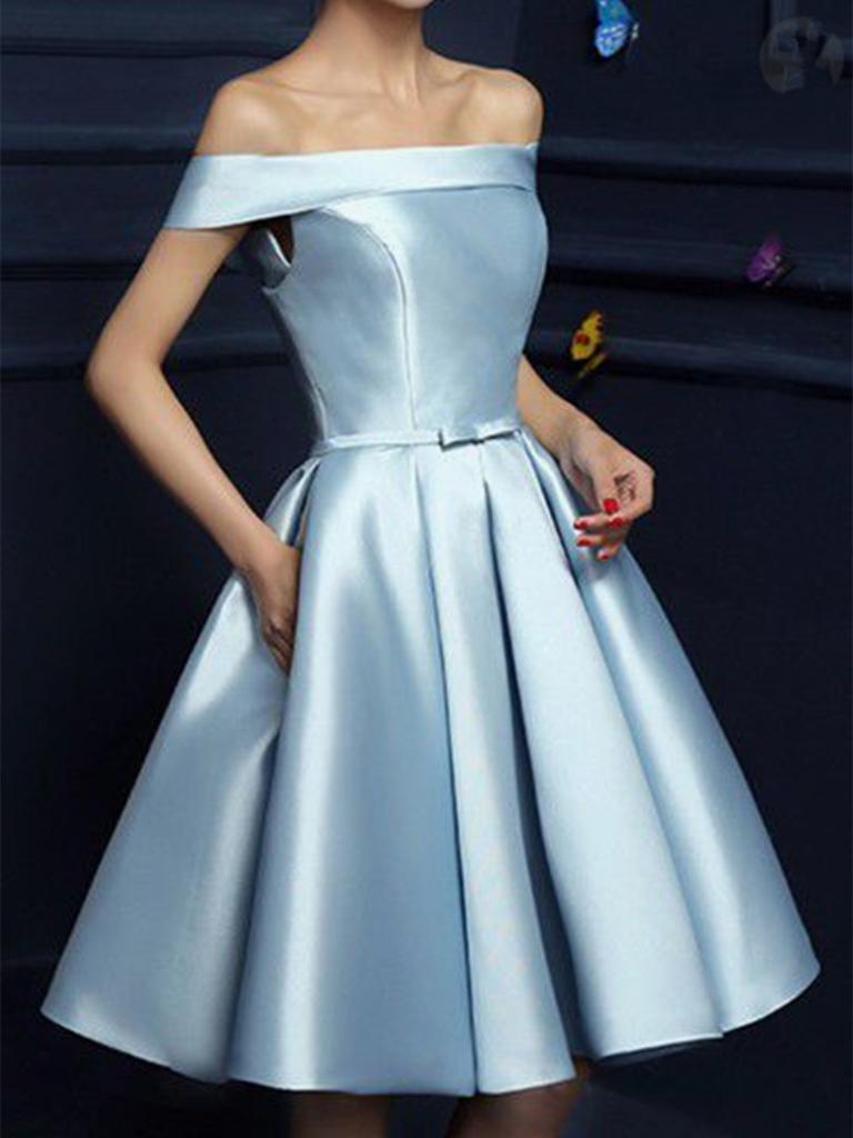 A line off shoulder light blue prom dresses short blue graduation
