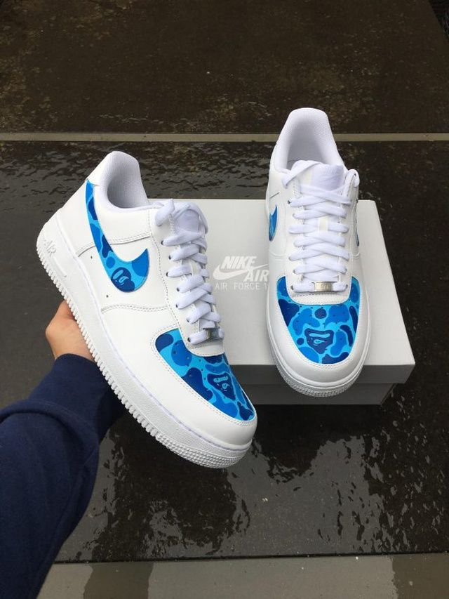 Nike x Ape (blue) in 2020 | Aesthetic shoes, Hype shoes