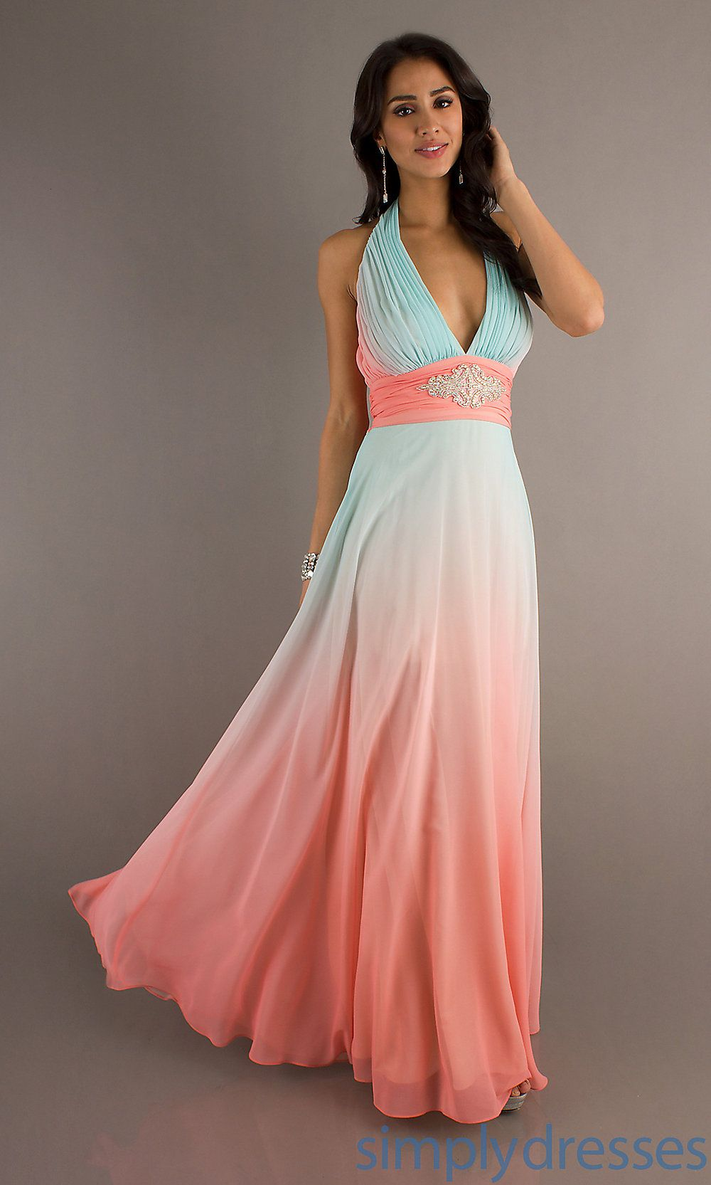 Long halter ombre prom dress halter prom gowns simply for Pink ombre wedding dress