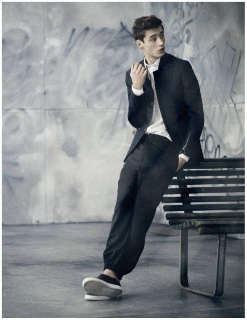 Adrien Sahores Dons Pinstripe, Broken Line Suits for Tiger of Sweden Spring 2015 Campaign
