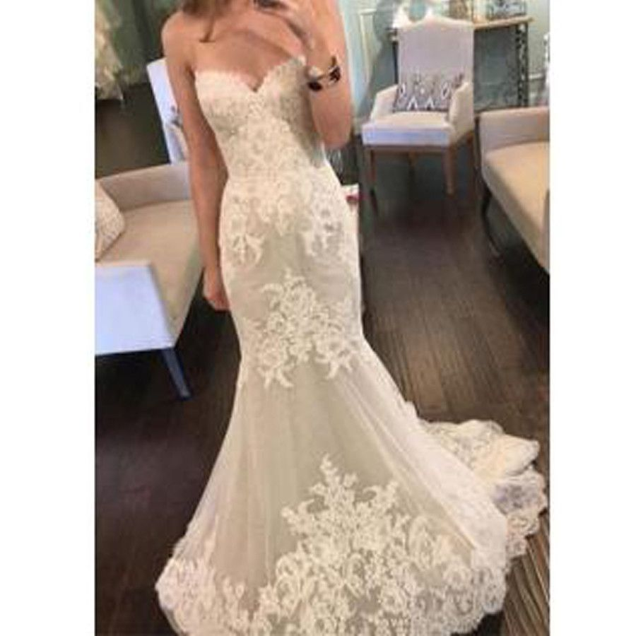 Simple and cheap wedding dresses   Strapless Sweetheart Lace Mermaid Elegant Simple Charming Cheap