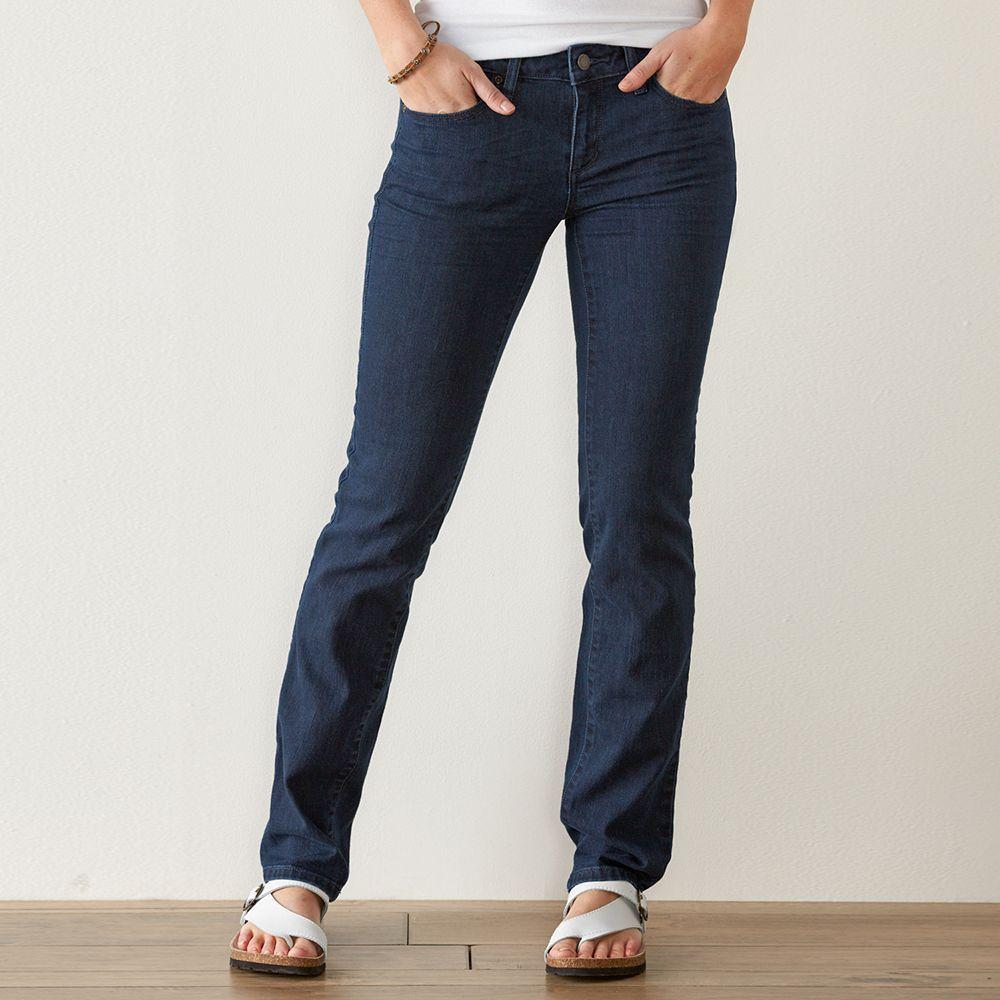Women's SONOMA Goods for Life™ Slim Fit Straight-Leg Jeans, Size: 16 Avg/Reg, Dark Blue
