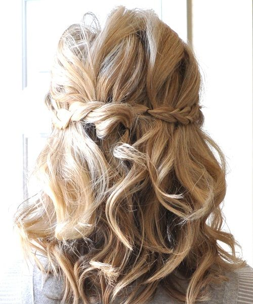 Hairstyles Half: Half-Up-Braided-Hairdos-for-Wavy-Medium-Length-Hair