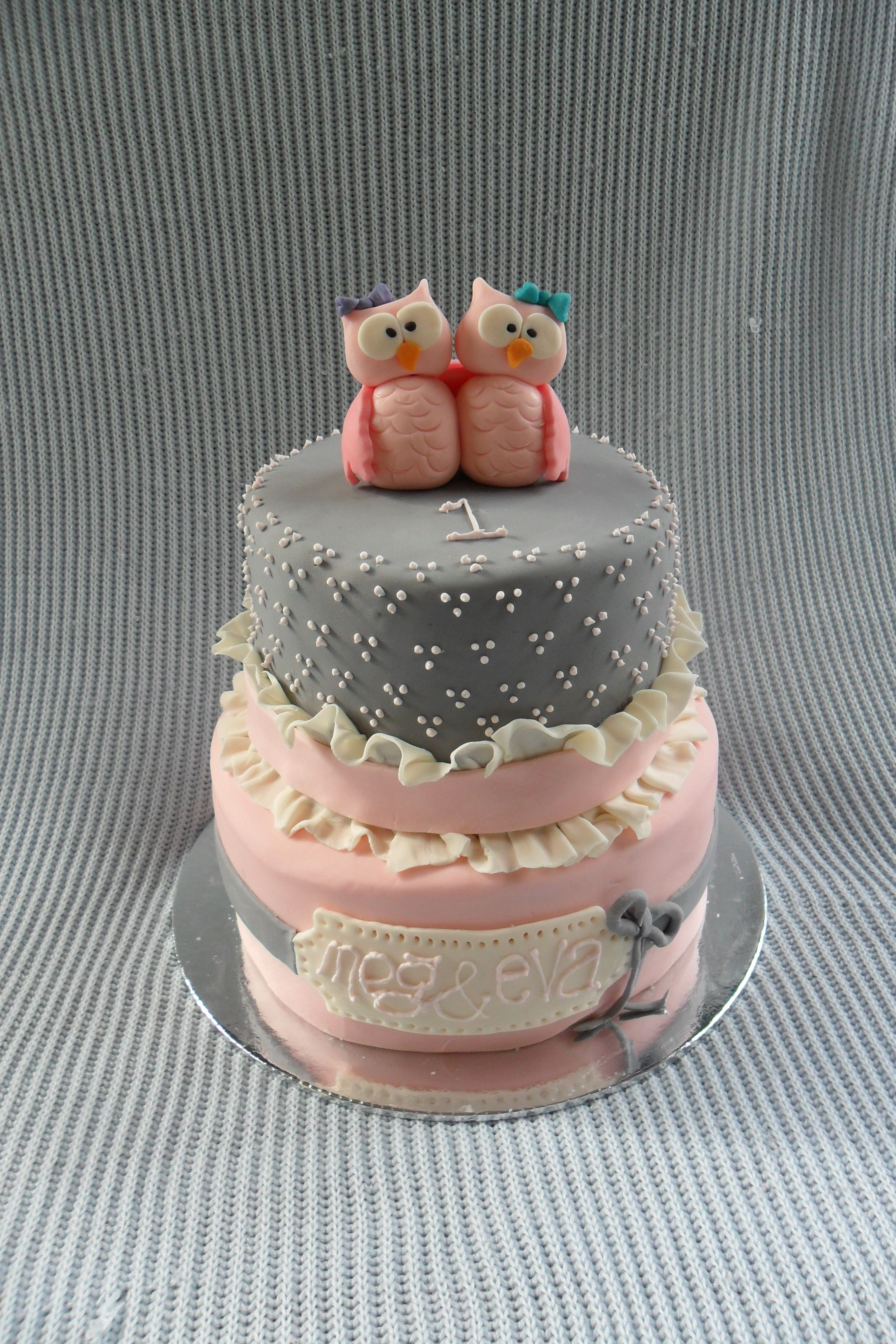 Childrens Birthday Cakes Owl cake for twin girls kids