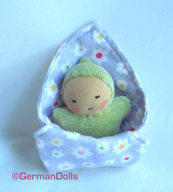 Waldorf Doll, Mini Baby Doll With Blanket, Baby Shower Gift, Cloth Doll
