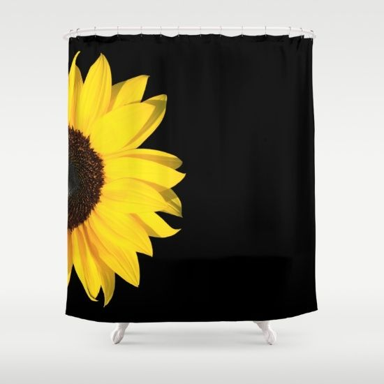 Buy Shower Curtains Featuring Colored Summer Sunflower Black By