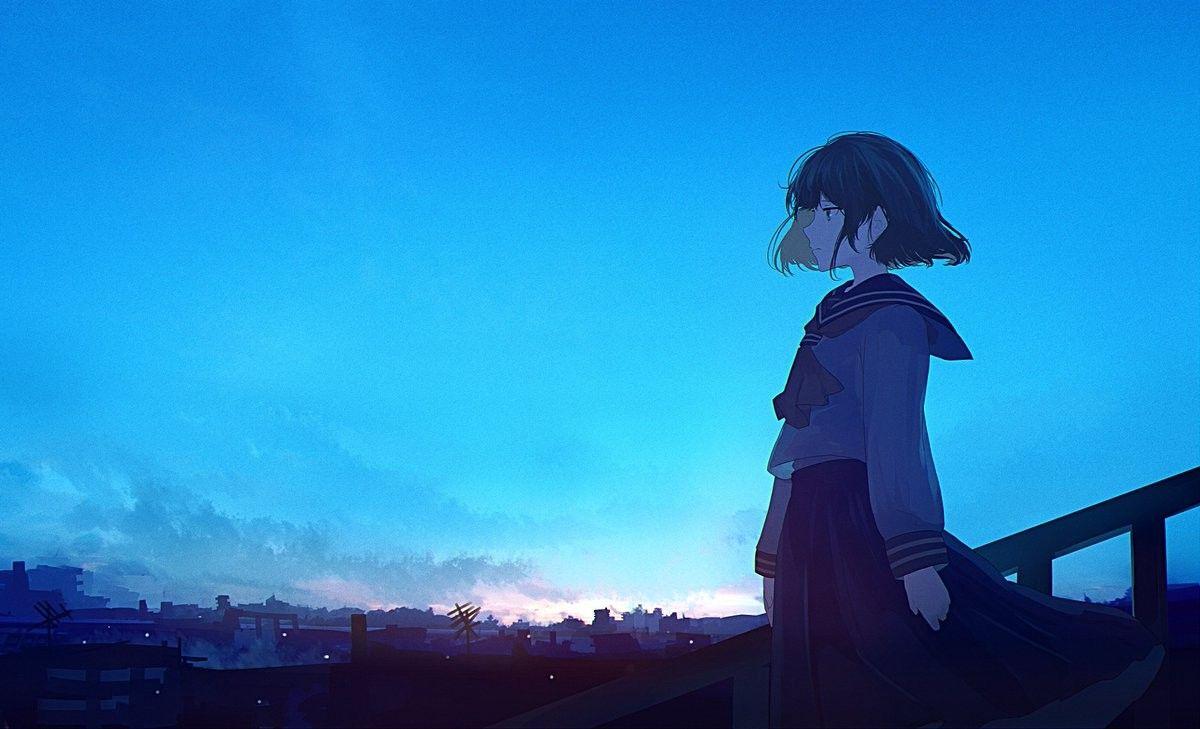 みふる mifulu 朝に佇む アニメの風景 イラスト 風景