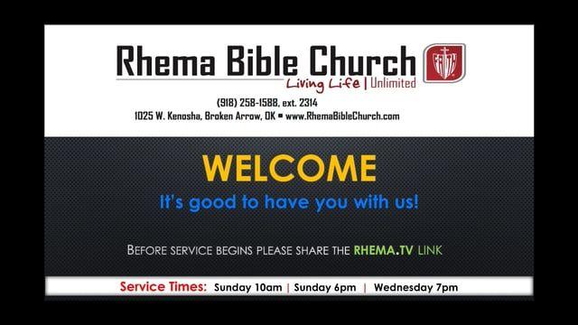 to RHEMA Bible Church! Thank you for worshiping