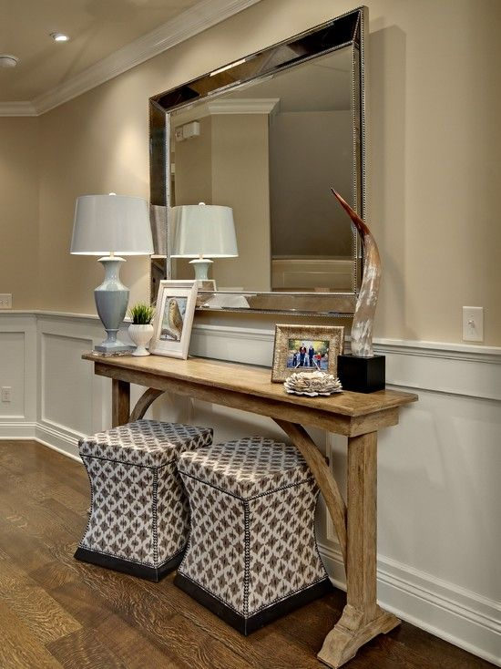 Perfect Adds Extra Seating Wooden Console Table With Table Lamp And Large  Wall Mirror