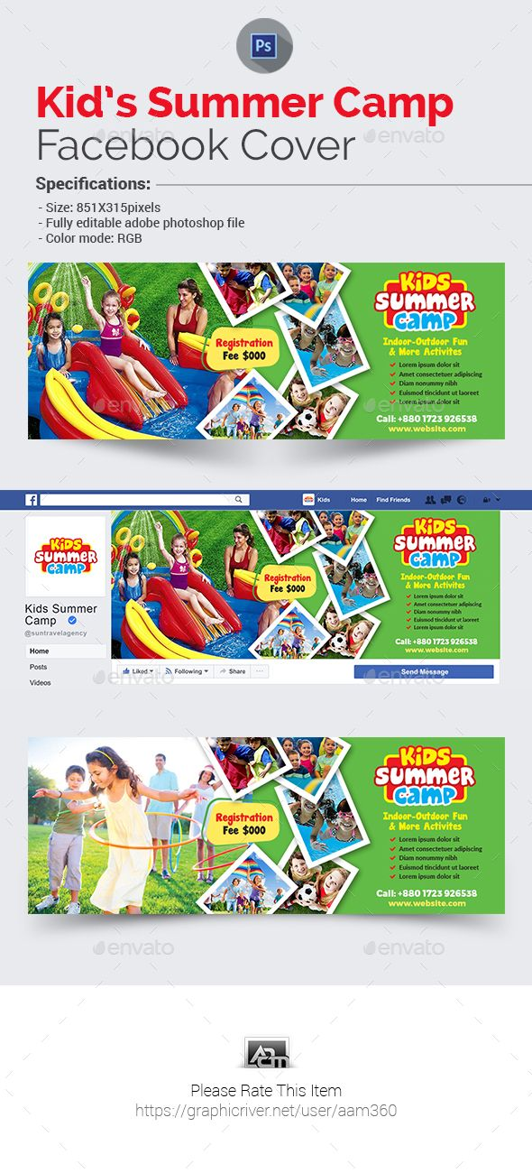 Kids Summer Camp Facebook Cover Facebook cover template - timeline template for kids