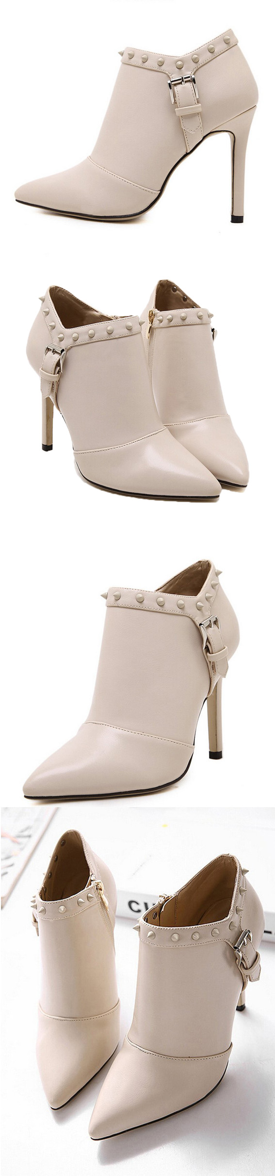 Adorable PU heeled ankle boots, with elegent color, make your outfits stand out in this season. Click to find more styles. From mynystyle.com.