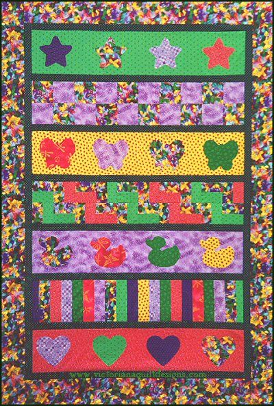 Easy Beginner's Row by Row for Baby Quilt Pattern. http://www.victorianaquiltdesigns.com/VictorianaQuilters/PatternPage/RowbyRow/RowbyRowBaby.htm Plus four bonus rows, that give you different options. Start with a colourful main border fabric and use it to pick matching fabrics! #quilting #baby #rowbyrow