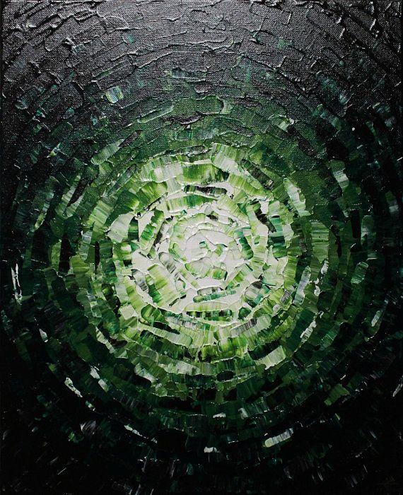 Contemporary painting light greenish glow en 2018 Peintures sur