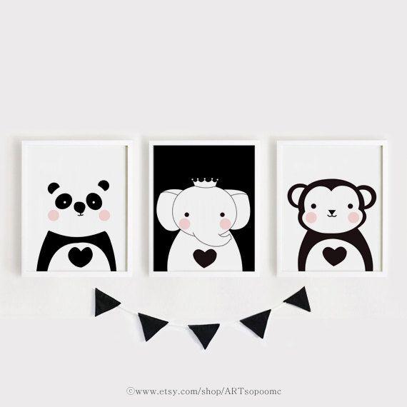 Imprimibles infantiles arte conjunto de 3 animales cartel | haks ...