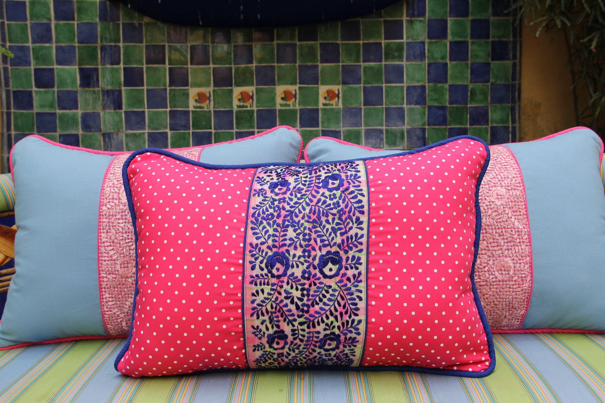 "Fuschisa Polka dots and Cobalt blue hand embroidered sham Scarlett ""O"" – Casa Otomi  Mexico, Tenango, wedding, textile, mexican suzani, embroidery, hand embroidered, otomi, fiber art, mexican, handmade,  casa, decor, interior, frida, kahlo, folk,  folk art, house, home, puebla, las flores, cushion, serape, preppy, gingham, polka dots, pink, lime, green, lily pulitizer, pouf, elle decor, boho, style, bestey johnson, lily pultizer, interior, stripes, southern living, southern style,"