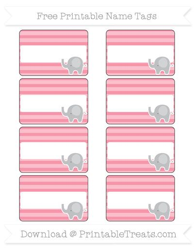 Free Pastel Pink Horizontal Striped Elephant Name Tags