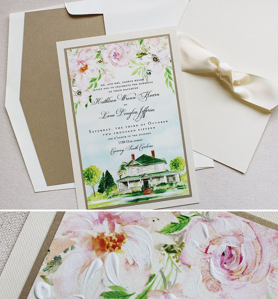 Kathleen H Watercolor Floral And Venue Wedding Invitations