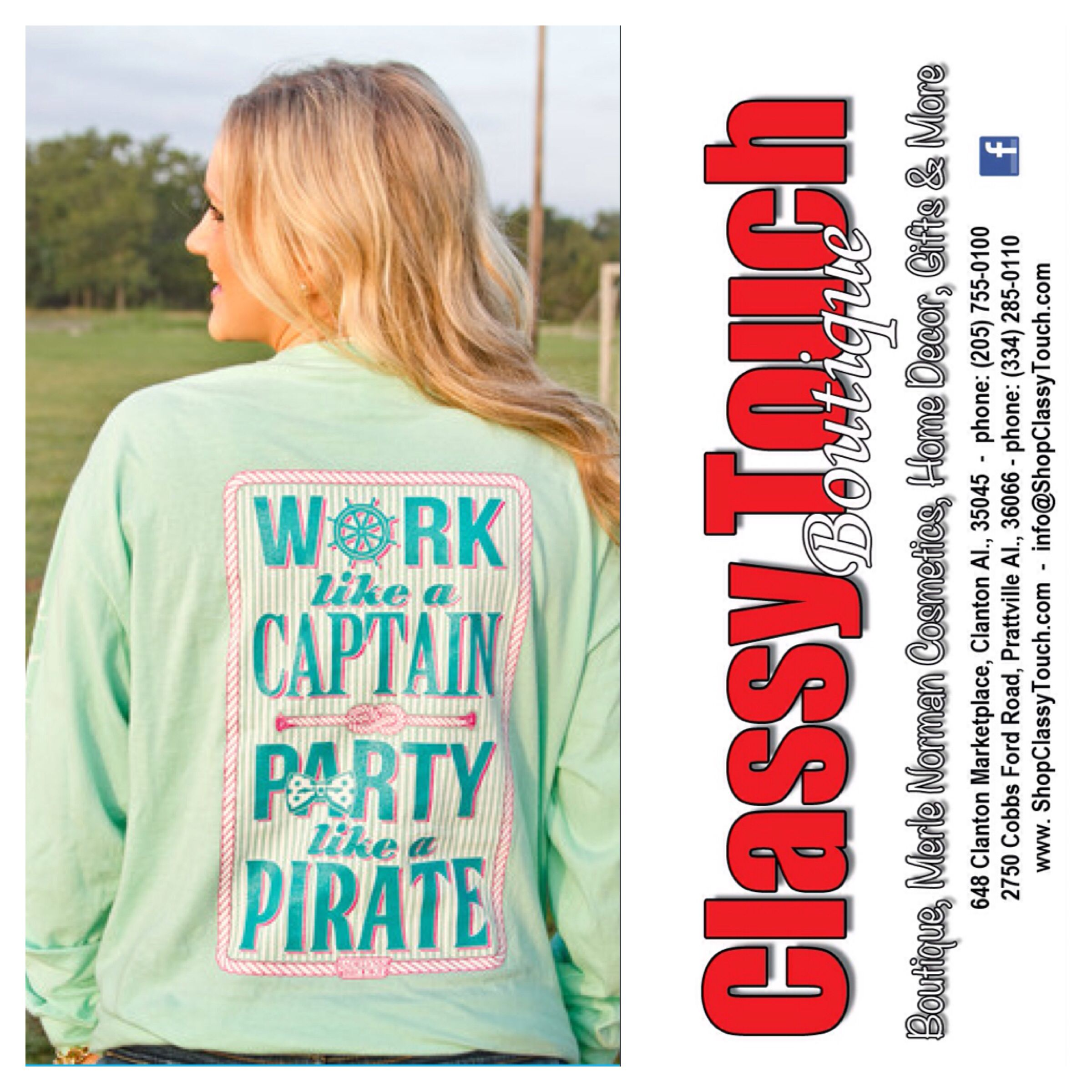 Work like a captain party like a pirate shopclassytouch boutique