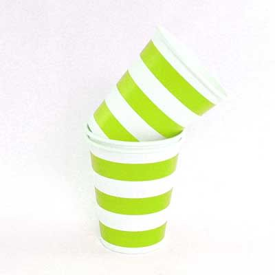 Candy Stripe Paper Cups - Lime