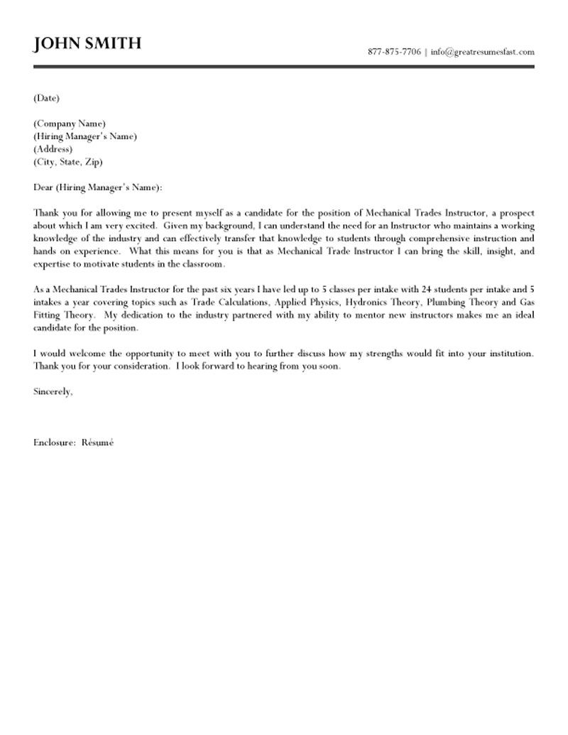 Mechanical Trades Instructor Cover Letter Sample ...