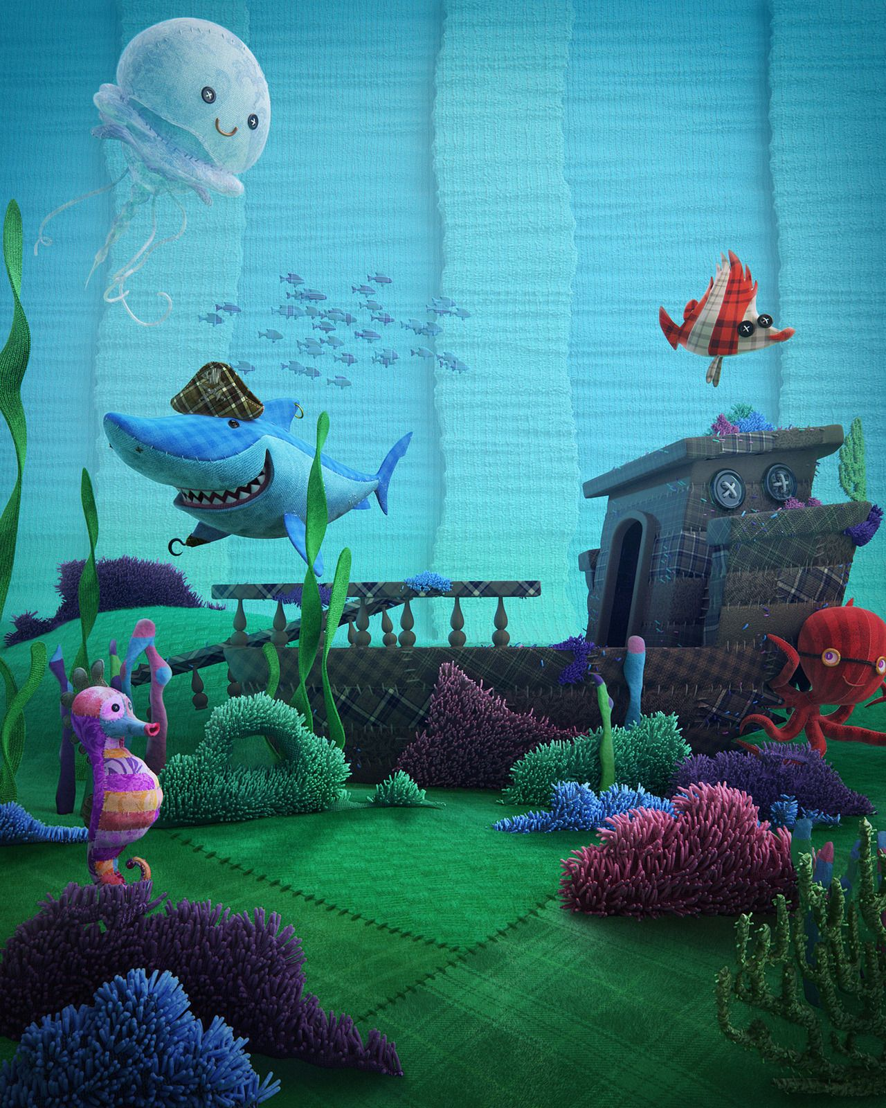 cartoon seabed picture (3d, cartoon, sea, shark, fish) | dinosaurs