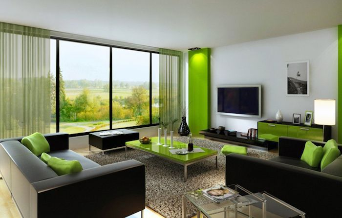 feng shui farben, wohnzimmer, dunkelbraunes sofa mit grünen