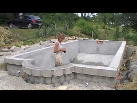 Homebuilt diy concrete block swimming pool youtube for Concrete pool construction